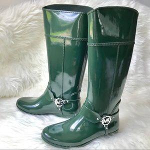 Michael Kors Hunter Green Tall Rain boots Size 10